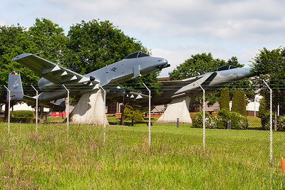 USAF GA-10A Warthog (77-0264/SP) preserved at Spangdahlem. In the background, a USAF F-15A (74-0085/SP) can be seen.