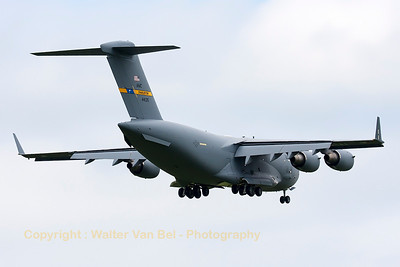 This USAF C-17A (04-4135, cnF142/P135) from 437th AW, is seen on final for RWY05 at Spangdahlem.