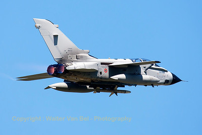 Italian Air Force Tornado IDS (MM7067; cn526/IS066/5078; 50-57) on TDY, launches from RWY08 at Florennes Air Base.