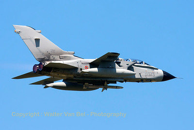 Italian Air Force Tornado ECR (MM7047; cn392/ECR../5056; 50-43) on TDY, launches from RWY08 at Florennes Air Base.