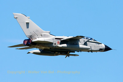 Italian Air Force Tornado IDS (MM7084; cn627/IS083/5095; 50-52) on TDY, launches from RWY08 at Florennes Air Base.