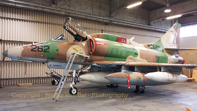 This A-4N Skyhawk from BAE Systems Flight Sytems (N262WL;262; cn14465) is seen in the hangar at Wittmund Air Base. It is being prepared for the ferry flight towards the USA.  [Samsung S4]