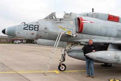 My host for the day - Uwe Weber - in front of a A-4N Skyhawk (N268WL; 268; cn 14450). This day was the last day of the contract between BAE Systems Flight Sytems and the German Air Force. Special thanks to Uwe Weber for guiding me around at Wittmund Air Base and to the people from BAE Systems Flight Sytems for their hospitality and the photo opportunities!!