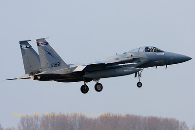 "A USAF F-15C Eagle (86-0162; cn1009/C390), on final for RWY05 at Leeuwarden AFB. This F-15C belongs to the 125th Fighter Wing, Florida Air National Guard, Jacksonsville, Fla., which leads the first ANG Theater Security Package (TSP) to deploy in support of ""Operation Atlantic Resolve""."