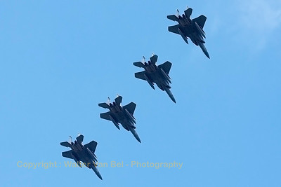 "A USAF F-15C Eagle (86-0162; cn1009/C390), leads a 4-ship formation, at the end of the afternoon mission at Leeuwarden AFB. These F-15C's belongs to the 125th Fighter Wing, Florida Air National Guard, Jacksonsville, Fla., which leads the first ANG Theater Security Package (TSP) to deploy in support of ""Operation Atlantic Resolve""."