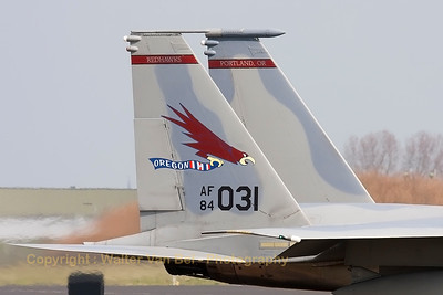 "Tail close-up of a USAF F-15C Eagle (84-0031; cn943/C334) from the 123rd Fighter Squadron ""Redhawks"" Oregon ANG, seen taxiing out to the active runway at the start of another mission during a sunny afternoon at Leeuwarden Air Base. This F-15C belongs to the 125th Fighter Wing, which leads the first ANG Theater Security Package (TSP) to deploy in support of ""Operation Atlantic Resolve""."