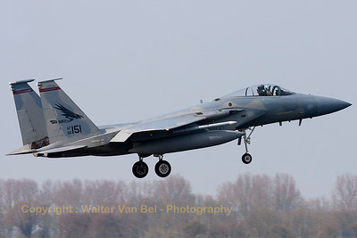 "A USAF F-15C Eagle (86-0151; cn998/C379) from the 123rd Fighter Squadron ""Redhawks"" Oregon ANG, about to land on RWY05 at Leeuwarden AFB."