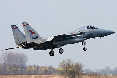 "A USAF F-15C Eagle (84-0031; cn943/C334) from the 123rd Fighter Squadron ""Redhawks"" Oregon ANG, on final for RWY05 at Leeuwarden AFB. This F-15C belongs to the 125th Fighter Wing, which leads the first ANG Theater Security Package (TSP) to deploy in support of ""Operation Atlantic Resolve""."