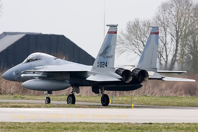 "A USAF F-15C Eagle (80-0024; cn668/C173) from the 123rd Fighter Squadron ""Redhawks"" Oregon ANG, seen taxiing back to the flightline at the end of another mission during a grey morning at Leeuwarden Air Base. This F-15C belongs to the 125th Fighter Wing, which leads the first ANG Theater Security Package (TSP) to deploy in support of ""Operation Atlantic Resolve""."