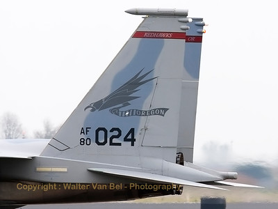 "Tail close-up of a USAF F-15C Eagle (80-0024; cn668/C317) from the 123rd Fighter Squadron ""Redhawks"" Oregon ANG, seen taxiing back to the flightline at the end of another mission during a grey morning at Leeuwarden Air Base. This F-15C belongs to the 125th Fighter Wing, which leads the first ANG Theater Security Package (TSP) to deploy in support of ""Operation Atlantic Resolve""."