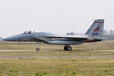 "A USAF F-15C Eagle (84-0031; cn943/C334) from the 123rd Fighter Squadron ""Redhawks"" Oregon ANG, is seen taxiing back to the flightline at the end of another mission during a grey morning at Leeuwarden Air Base. This F-15C belongs to the 125th Fighter Wing, which leads the first ANG Theater Security Package (TSP) to deploy in support of ""Operation Atlantic Resolve""."