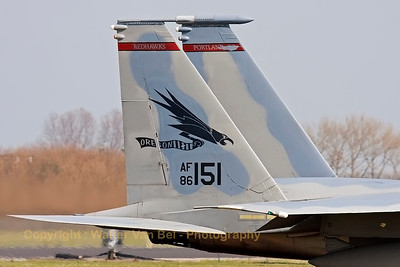 "Tail close-up of a USAF F-15C Eagle (86-0151; cn998/C379) from the 123rd Fighter Squadron ""Redhawks"" Oregon ANG, seen taxiing out to the active runway at the start of another mission during a sunny afternoon at Leeuwarden Air Base. This F-15C belongs to the 125th Fighter Wing, which leads the first ANG Theater Security Package (TSP) to deploy in support of ""Operation Atlantic Resolve""."