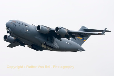 A USAF C-17A (07-7184; P187) from 437th AW/315th AW, departs Leeuwarden Air Base on a grey and dull morning.