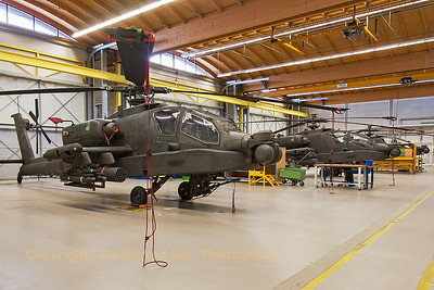 Some other RNLAF AH-64D Apache's in the hangar at Gilze-Rijen Air Base.