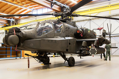 "One of the many RNLAF ""AH-64D Apache""'s (Q-18; cnDN018) at Gilze-Rijen Air Base."