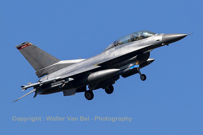 """A USAF F-16DM (91-0481; SP; cnCD-36) from the 480th FS """"Warhawks"""" is seen turning final for RWY05 at ETAD."""