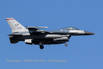 """A USAF F-16CM (90-0818; SP; cnCC-18) from the 480th FS """"Warhawks"""" is seen here on final for RWY05 at Spangdahlem Air Base."""