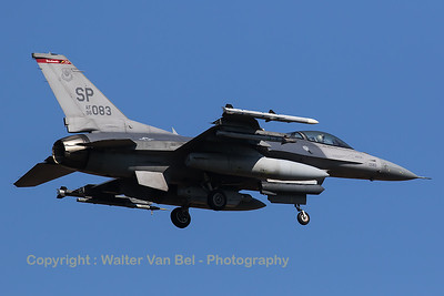 """A USAF F-16CM (96-0083; SP; cnCC-205) from the 480th FS """"Warhawks"""" is seen here on final for RWY05 at Spangdahlem Air Base."""