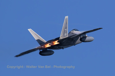 This USAF F-22A Raptor (05-4098; TY; cn645-4098), equipped with ferry tanks, departs Spangdahlem Air Base in style! With full afterburner, some vapour and very loud engines, this was an unforgettable moment!