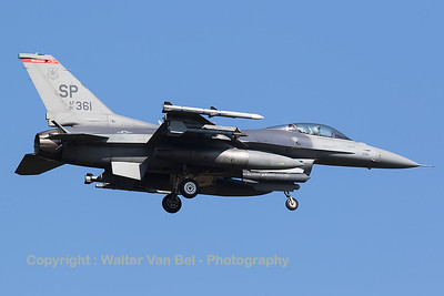 """A USAF F-16CM (91-0361; SP; cnCC-59) from the 480th FS """"Warhawks"""" is seen here on final for RWY05 at Spangdahlem Air Base."""