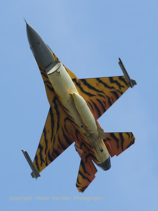 "Belgian Air Force F-16AM (FA-77; cn6H77) ""Tiger"", from 31 Sqn at Kleine Brogel, seen here in take-off from RWY23R."