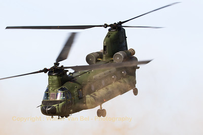"Take-off of a RNLAF Boeing-Vertol CH-47D Chinook (D-102; cnM4102/NL009), just after having practised a ""brown-out""-landing at GLV5."