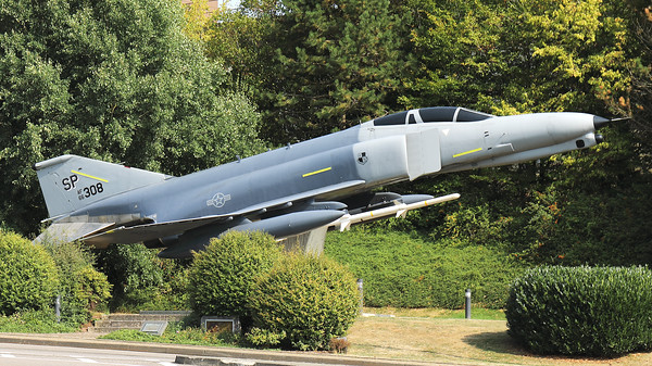 "USAF F-4E Phantom II (66-0308; cn2505; SP) preserved at Spangdahlem as ""gate guard"" in the form of a F-4G Wild Weasel."