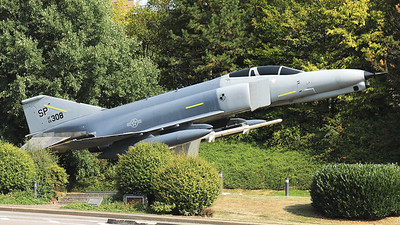 """USAF F-4E Phantom II (66-0308; cn2505; SP) preserved at Spangdahlem as """"gate guard"""" in the form of a F-4G Wild Weasel."""