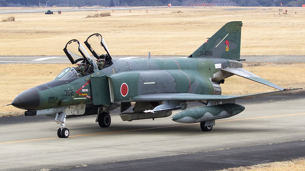 JASDF RF-4EJ (77-6392; cnM092) from 501 Hikotai, seen here on the taxiway to the active runway at Hyakuri, at the start of another recce-mission. The 501st Tactical Reconnaissance Squadron is a squadron of the Japan Air Self-Defense Force based at Hyakuri Air Base (Ibaraki Airport) in Ibaraki Prefecture, Japan.