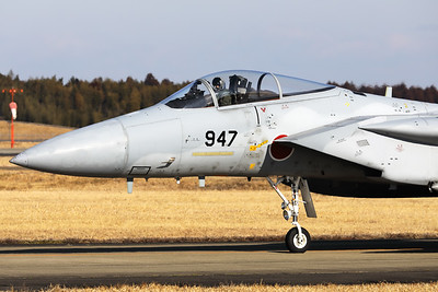 Close-up of a JASDF F-15J (42-8947; cn147) from 306 Hikotai (Golden Eagle), on the taxiway at Hyakuri.