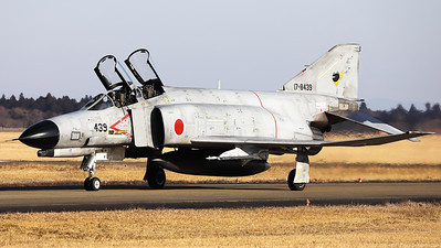JASDF F-4EJ-KAI (17-8439; cnM139) from 301 Hikotai (Frogs), on the taxiway at Hyakuri. The squadron emblem of the 301st Squadron is a frog wearing a scarf.