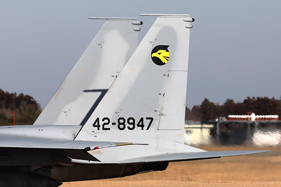 """Tail close-up of a JASDF F-15J (42-8947; cn147) from 306 Hikotai (Golden Eagle), on the taxiway at Hyakuri. The 306th Tactical Fighter Squadron is a squadron of the 6th Air Wing of the Japan Air Self-Defense Force, based at Komatsu Air Base, in Ishikawa Prefecture, Japan. The squadron's aircraft carry a golden eagle as their tail marking, inside a stylized """"6"""" indicating the 6th Air Wing. The golden eagle can be found in the mountains near Komatsu air base, and is also the prefectural bird of Ishikawa."""