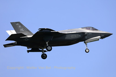 """A USAF F-35A Lightning II (15-5173; cnAF-148) is seen here on final for RWY05 at ETAD. The F-35A's from 388th FW / 421st FS and the 419th FW / 466 FS, based at Hill AFB (Utah) have been deployed to Europe as a """"Theater Security Package""""."""