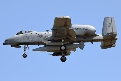 "A USAF A-10C Thunderbolt II (81-0975; cnA10-0670) is seen here on final for RWY05 at ETAD. This A-10C belongs to the 107th Fighter Squadron ""Red Devils"", which is a unit of the Michigan Air National Guard 127th Wing. It is assigned to Selfridge Air National Guard Base, Michigan."