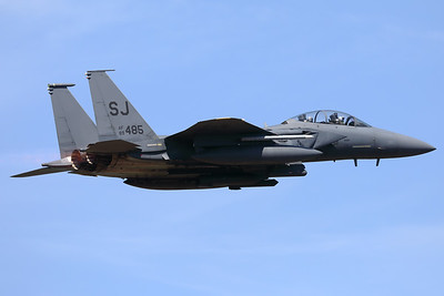 """A USAF F-15E Strike Eagle (89-0485; cn1132-E107) from the 4th Fighter Wing at Seymour Johnson Air Force Base, North Carolina, is seen in take-off from Spangdahlem's RWY05 at the start of another mission during """"Rapid Forge""""."""