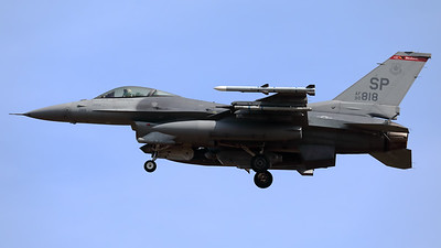 A USAF F-16CM (90-0818; cnCC-18) from the 480th FS, is seen here on final for RWY05 at Spangdahlem (ETAD).