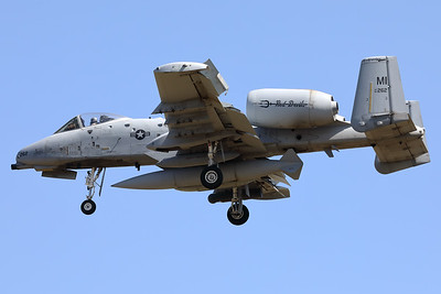 "A USAF A-10C Thunderbolt II (80-0262; cnA10-0612) is seen here on final for RWY05 at ETAD. This A-10C belongs to the 107th Fighter Squadron ""Red Devils"", which is a unit of the Michigan Air National Guard 127th Wing. It is assigned to Selfridge Air National Guard Base, Michigan."
