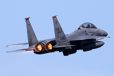 """A USAF F-15E Strike Eagle (88-1683; cn1092-E067) from the 4th Fighter Wing at Seymour Johnson Air Force Base, North Carolina, is seen in take-off from Spangdahlem's RWY05 at the start of another mission during """"Rapid Forge""""."""