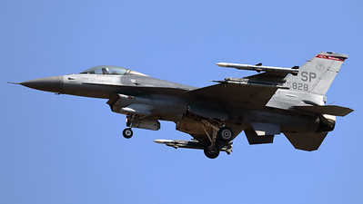 """A USAF F-16CM (90-0828; cnCC-28) from the 480th FS """"Warhawks"""", is seen here on final for RWY05 at Spangdahlem (ETAD)."""