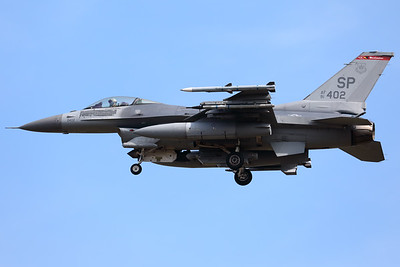 A USAF F-16C (91-0402; cnCC-100) from the 480th FS, is seen here on final for RWY05 at ETAD. Lots of mission marks on this bird!!