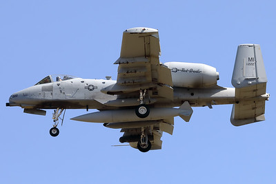 "A USAF A-10C Thunderbolt II (80-0222; cnA10-0572) is seen here on final for RWY05 at ETAD. This A-10C belongs to the 107th Fighter Squadron ""Red Devils"", which is a unit of the Michigan Air National Guard 127th Wing. It is assigned to Selfridge Air National Guard Base, Michigan."