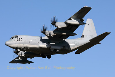 "A US Marine Corps KC-130J (166380; BH-380; cn382-5516) from VMGR-252 is seen here on final at Eindhoven Airport during the celebrations for 75-Years Market Garden. Marine Aerial Refueler Transport Squadron 252 (VMGR-252) is a United States Marine Corps KC-130J squadron. They are a part of Marine Aircraft Group 14 (MAG-14), 2nd Marine Aircraft Wing (2nd MAW) and provide both fixed-wing and rotary-wing aerial refueling capabilities to support Fleet Marine Force air operations in addition to assault air transport of personnel, equipment, and supplies. The squadron, known as ""Otis"" is stationed at Marine Corps Air Station Cherry Point, North Carolina."