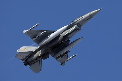 One of the local jets, a Belgian Air Force F-16AM (FA-87; cn6H-87), seen here on take-off from Florennes Air Base.