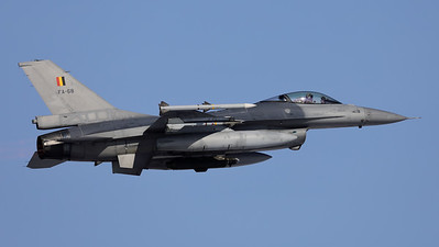 One of the Belgian Air Force QRA-jets, a F-16AM (FA-68; cn6H-68), seen here on take-off from Florennes Air Base.