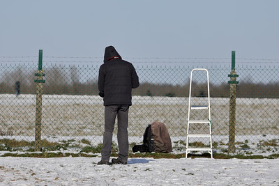 Photographer Geert, near the fence at Florennes Air Base.