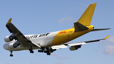 This Boeing 747-446 (BCF) (N743CK; msn26350) from Kalitta Air (DHL), is seen here on final for RWY01 at Brussels Airport.