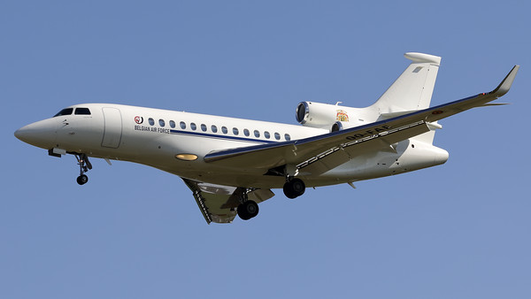This Belgian Air Force Dassault Falcon 7X (OO-FAE; msn79) is seen here on final for RWY01 at Brussels Airport.