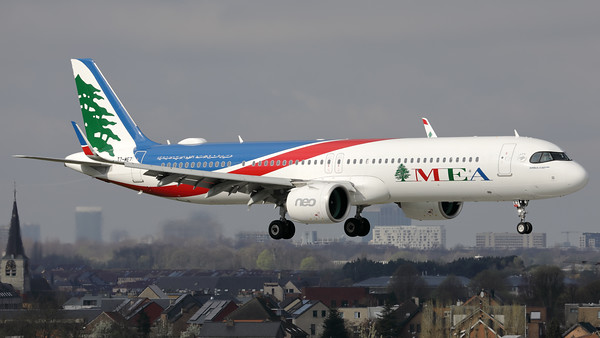 This Middle East Airlines Airbus A321neo (T7-ME7; msn10116) is seen here prior to landing on RWY01 at Brussels Airport.