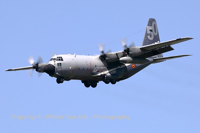 """This Belgian Air Force C-130H """"Hercules"""" (CH-01; msn382-4455) is seen here on final for RWY25L at Brussels Airport, showing her beautiful new c/s (celebrating almost 50 years in the Belgian Air Force), on a very hot and sunny day."""