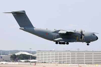 """This Belgian Air Force A400M """"Atlas"""" (CT-03; msn109) is seen here about to land on RWY01 at Brussels Airport, after having participated in the fly-by over Brussels on Belgium's national day."""